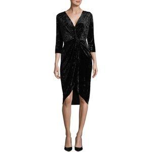 Alexia Admor Black Crushed Velvet Twist Dress